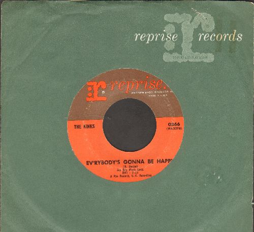 Kinks - Ev'rybody's Gonna Be Happy/Who'll Be The Next In Line (with Reprise company sleeve) - EX8/ - 45 rpm Records