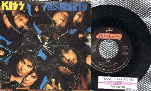 KISS - Crazy Crazy Nights/No No No (with juke box label and picture sleeve) - NM9/VG7 - 45 rpm Records
