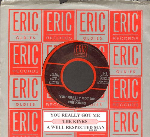 Kinks - You Really Got Me/A Well Respected Man (double-hit re-issue with juke box labe and company sleeve) - NM9/ - 45 rpm Records