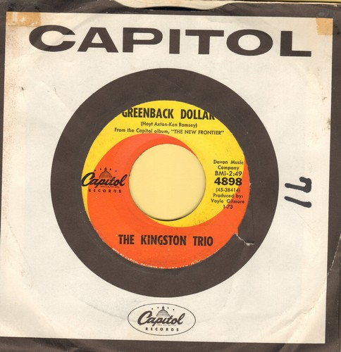 Kingston Trio - Greenback Dollar/Reverend Mr. Black (with company sleeve) - EX8/ - 45 rpm Records
