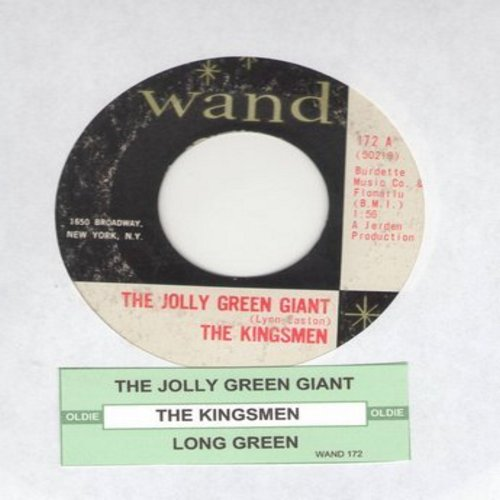 Kingsmen - Jolly Green Giant/Long Green (with juke box label)(bb) - EX8/ - 45 rpm Records