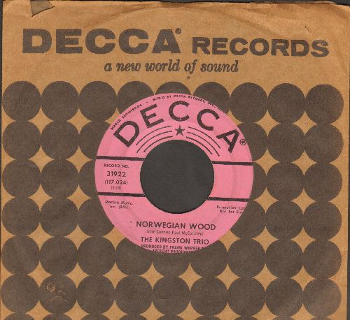 Kingston Trio - Norwegian Wood/Put Your Money Away (DJ advance pressing with Decca company sleeve) - VG7/ - 45 rpm Records