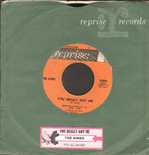 Kinks - You Really Got Me/It's All Right (with Reprise company sleeve and juke box label) - VG7/ - 45 rpm Records