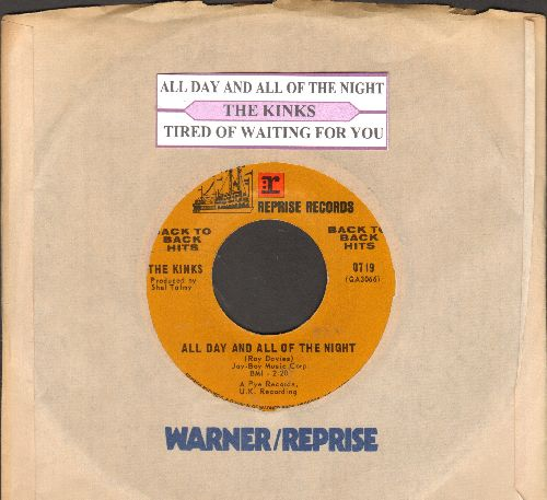 Kinks - All Day And All Of The Night/Tired Of Waiting For You (double-hit re-issue with juke box label and company sleeve) - NM9/ - 45 rpm Records