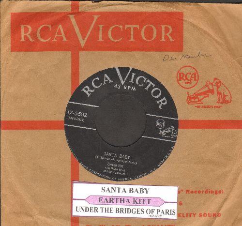 Kitt, Eartha - Santa Baby/Under The Bridges Of Paris (with juke box label and vintage RCA company sleeve) - VG7/ - 45 rpm Records