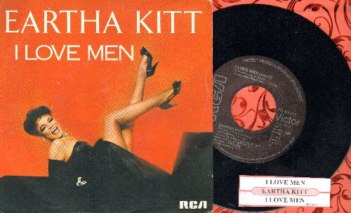 Kitt, Eartha - I Love Men/I Love Men (Instrumental) (SWEDISH Pressing with juke box label and picture sleeve) - NM9/EX8 - 45 rpm Records