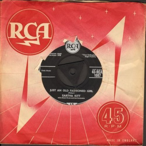 Kitt, Eartha - Just An Old Fashioned Girl/If I Can't Take It With Me When I Go (British Pressing with removable spindle-adapter and vintage RCA company sleeve) - NM9/ - 45 rpm Records