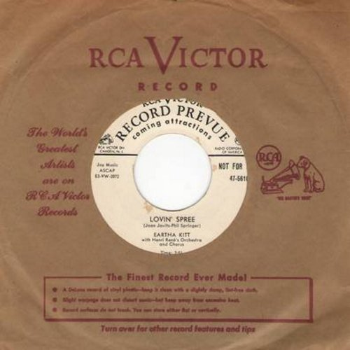 Kitt, Eartha - Lovin' Spree/Somebady Bad Stole De Wedding Bell (DJ advance copy with vintage RCA company sleeve) - NM9/ - 45 rpm Records