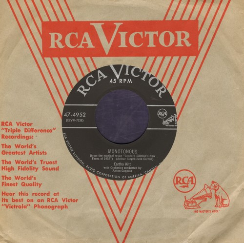 Kitt, Eartha - Monotonous/Boston Beguine (By Alice Ghostley on flip-side) (with RCA company sleeve) - NM9/ - 45 rpm Records