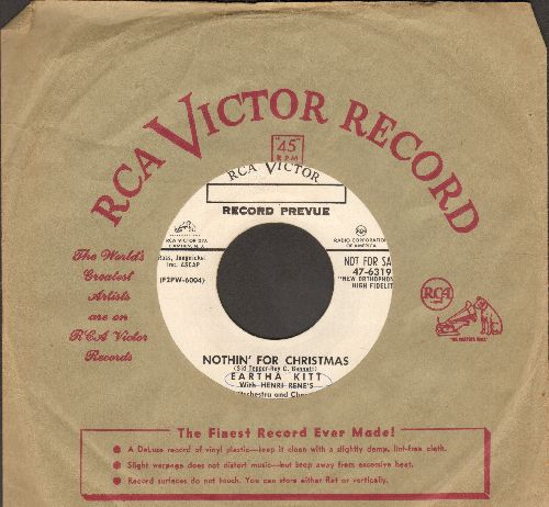 Kitt, Eartha - Nothin' For Christmas/Je Cherche Un Homme (DJ advance pressing with vintage RCA company sleeve) (sol, minor wol) - EX8/ - 45 rpm Records