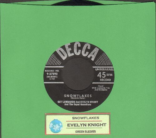 Knight, Evelyn - Snowflakes/Green Sleeves (1951 first pressing with juke box label) - EX8/ - 45 rpm Records