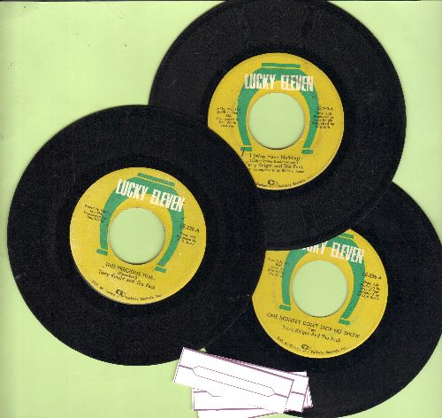 Knight, Terry & The Pack - 3-Pack of first issues includes hits I (Who Have Nothing), This Precious Time and One Monkey Don't Stop No Show. Shipped in pain white paper sleeves with 4 blank juke box labels) - VG7/ - 45 rpm Records