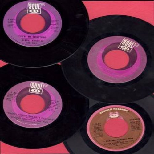 Knight, Gladys & The Pips - Gladys Knight & The Pips 4 Pack of Original Hit 45s. Hit titles include I Can See Clearly Now, Daddy Could Swaer I Declare, Neither One Of Us and You're My Everything. All records are in excellent condition and come in plain wh