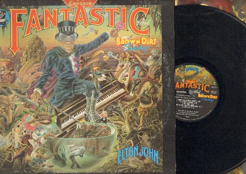 John, Elton - Captain Fantastic: Someone Saved My Life Tonight, Better Off Dead, Curtains (vinyl LP record, gate-fold cover) - VG7/VG7 - LP Records