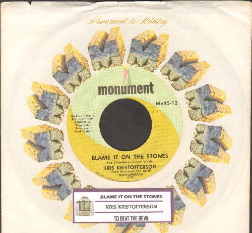 Kristofferson, Kris - Blame It On The Stones/To Beat The Devil (with juke box label and company sleeve) - NM9/ - 45 rpm Records