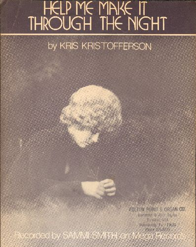 Smith, Sammi - Help Me Make It Through The Night - Vintage SHEET MUSIC for the Kris Kristoffewrson Classic. Cover art features singer Sammi Smith. - EX8/ - 45 rpm Records