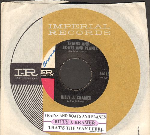Kramer, Billy J. - Trains And Boats And Planes/That's The Way I Feel (with juke box label and Imperial company sleeve) - EX8/ - 45 rpm Records