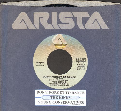 Kinks - Don't Forget To Dance/Young Conservatives (with juke box label and Arista company sleeve) - NM9/ - 45 rpm Records
