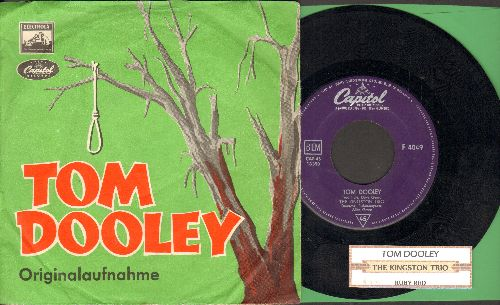 Kingston Trio - Tom Dooley/Ruby Red (German Pressing with juke box label and picture sleeve) - EX8/VG7 - 45 rpm Records