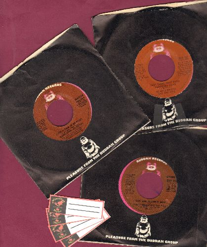 Knight, Gladys & The Pips - 3-pack of first pressings with Buddah company sleeves. Hits include I Can See Clearly Now, Best Thing That Ever Happened To Me, I Feel A Song In My Heart. With 4 blank juke box labels. - NM9/ - 45 rpm Records