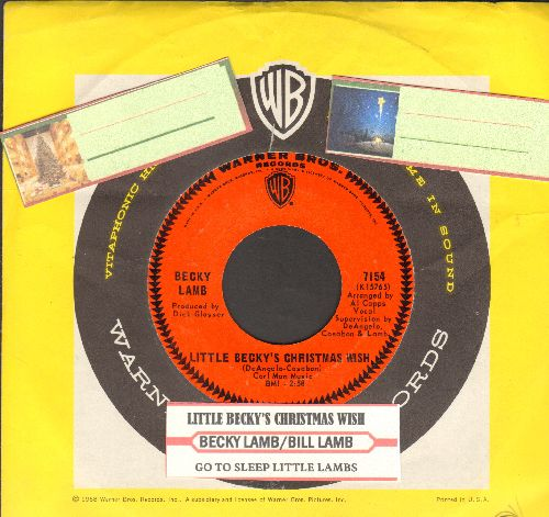 Lamb, Becky - Little Becky's Christmas Wish (ULTRA-SENTIMENTAL Vietnam-Era letter to Santa)/Go To Sleep Little Lamb (with juke box label and vintage Warner Brothers company sleeve)  - EX8/ - 45 rpm Records