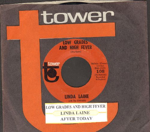 Laine, Linda - Low Grades And High Fever/After Today (RARE Novelty 2-sider with juke box label and Tower company sleeve) - NM9/ - 45 rpm Records