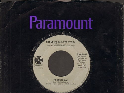 Lai, Francis & His Orchestra - Theme From Love Story/Skating In Central Park (with Paramount company sleeve) - NM9/ - 45 rpm Records