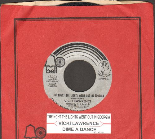 Lawrence, Vicki - The Night The Lights Went Out In Georgia/Dime A Dance (with juke box label and Bell company sleeve) - NM9/ - 45 rpm Records