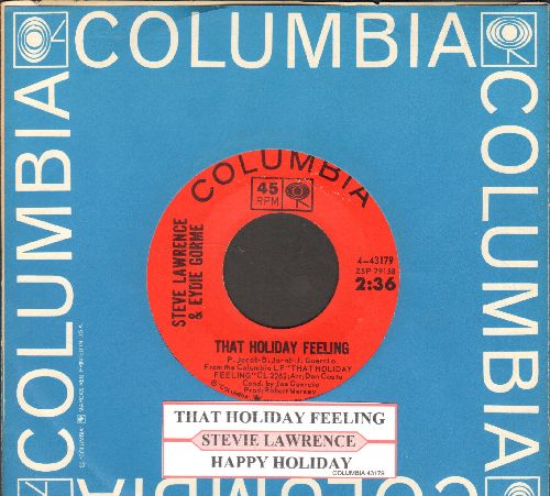 Lawrence, Steve & Eydie Gorme - That Holiday Feeling/Happy Holiday (with juke box label vintage Columbia company sleeve) - NM9/ - 45 rpm Records