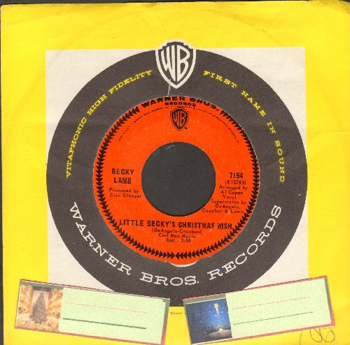 Lamb, Becky - Little Becky's Christmas Wish (ULTRA-SENTIMENTAL Vietnam-Era letter to Santa)/Go To Sleep Little Lamb (with Warner Brothers company sleeve) (wol) - EX8/ - 45 rpm Records