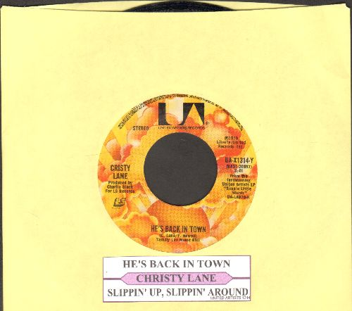 Lane, Cristy - He's Back In Town/Slippin' Up, Slippin' Around (with juke box label) - EX8/ - 45 rpm Records