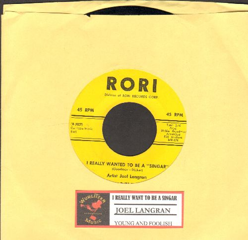 """Langran, Joel - I Really Wanted To Be A """"Singar""""(FANTASTIC JFK Parody!)/Young & Foolish (NICE condition with juke box label) - NM9/ - 45 rpm Records"""