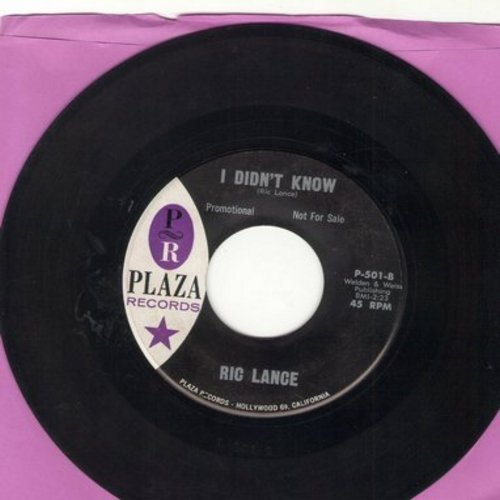 Lance, Ric - I Didn't Know (the ULTIMATE 50's TEEN SOUND!)/When You're In My Arms (DJ advance pressing) - EX8/ - 45 rpm Records