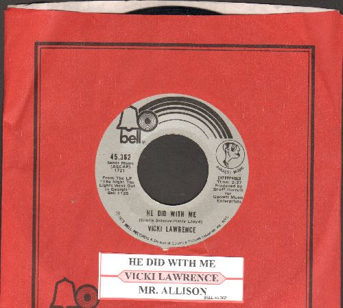 Lawrence, Vicki - Mr. Allison/He Did With Me (with juke box label and company sleeve) - NM9/ - 45 rpm Records
