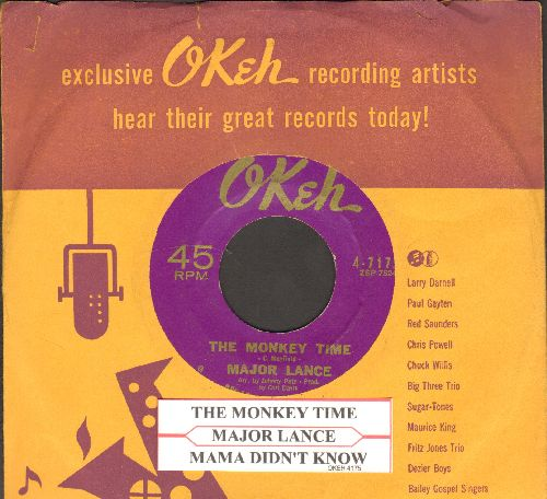 Lance, Major - The Monkey Time/Mama Didn't Know (with juke box label and vintage Okeh company sleeve) - EX8/ - 45 rpm Records