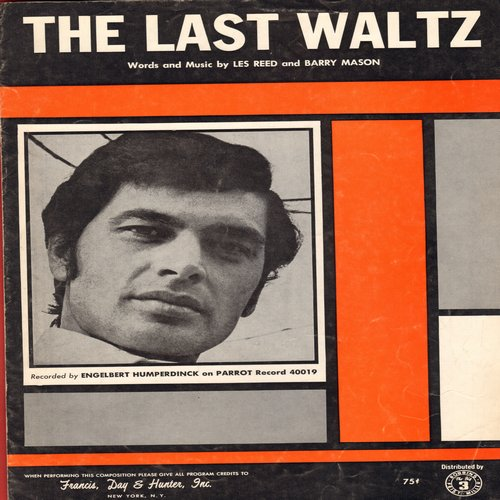 Humperdinck, Engelbert - The Last Waltz -  Vintage SHEET MUSIC for the song made popular by Engelbert Humperdinck - EX8/ - Sheet Music