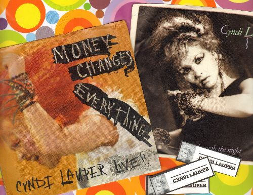 Lauper, Cyndi - 2 original 45s with picture sleeve for the price of 1!: All Through The Night/Money (Changes Everything) - Shipped with 3 blank juke box labels, GREAT gift for a fan! - EX8/EX8 - 45 rpm Records