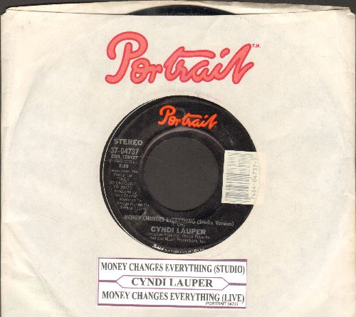 Lauper, Cyndi - Money Changes Everything (with Portrait company sleeve and  juke box label) - NM9/ - 45 rpm Records
