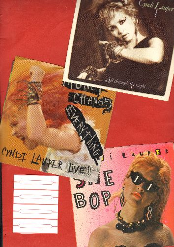 Lauper, Cyndi - 3-Pacl of first issue 45s with picture sleeves. Hits include She Bop, All Through The Night and Money Changes Everything. Shipped with 4 blank juke box labels, GREAT for a juke box or as gift for a fan! - EX8/EX8 - 45 rpm Records