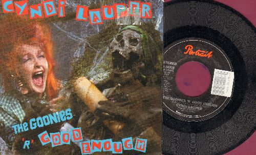 Lauper, Cyndi - The Goonies 'R' Good Enough (HALLOWEEN FAVORITE!)/What A Thrill (with picture sleeve) - NM9/EX8 - 45 rpm Records