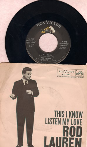 Lauren, Rod - This I Know/Listen My Love (with picture sleeve) - M10/EX8 - 45 rpm Records
