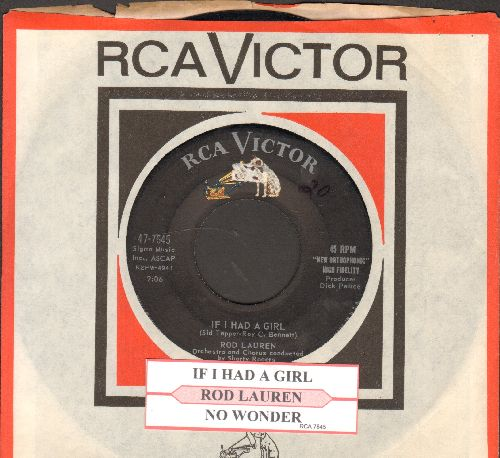 Lauren, Rod - If I Had A Girl/No Wonder (with juke box label and RCA company sleeve) - EX8/ - 45 rpm Records
