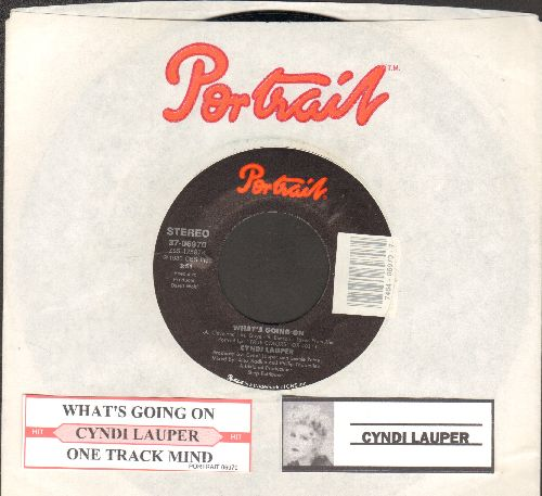 Lauper, Cyndi - What's Going On/One Track Mind (with juke box label and Portrait company sleeve) - NM9/ - 45 rpm Records