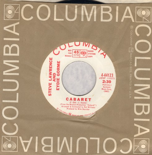 Lawrence, Steve & Eydie Gorme - Cabaret/Mame (DJ advance pressing with Columbia company sleeve) - NM9/ - 45 rpm Records