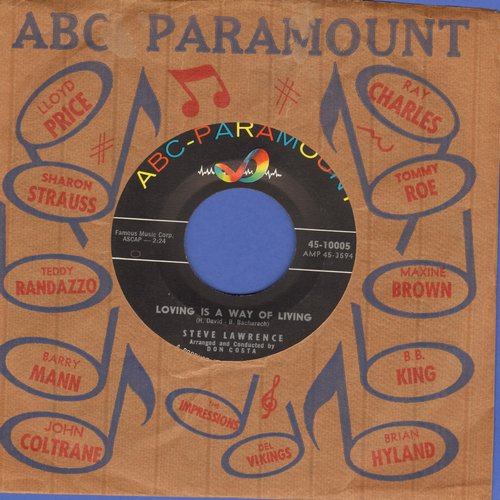 Lawrence, Steve - Loving Is A Way Of Living/(I Don't Crae) Only Love Me (NICE condition with vintage ABC-Paramount company sleeve) - NM9/ - 45 rpm Records