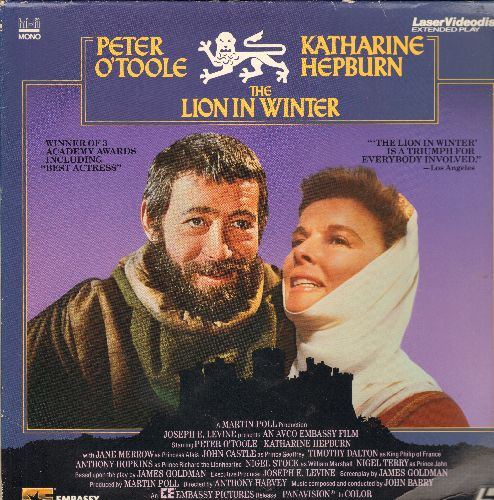 Lion In Winter - The Lion In Winter Dobuel Laser Disc Starring Katherine Hepburn & Pter O'Toole - NM9/EX8 - Laser Discs