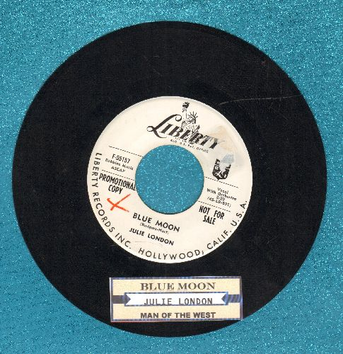 London, Julie - Blue Moon/Man Of The West (DJ advance pressing with juke box label) - VG7/ - 45 rpm Records