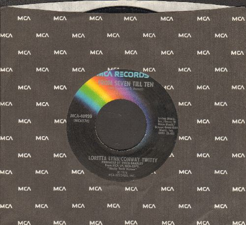 Lynn, Loretta & Conway Twitty - You're The reason Our Kids Are Ugly/From Seven Till Ten (with MCA company sleeve) - EX8/ - 45 rpm Records