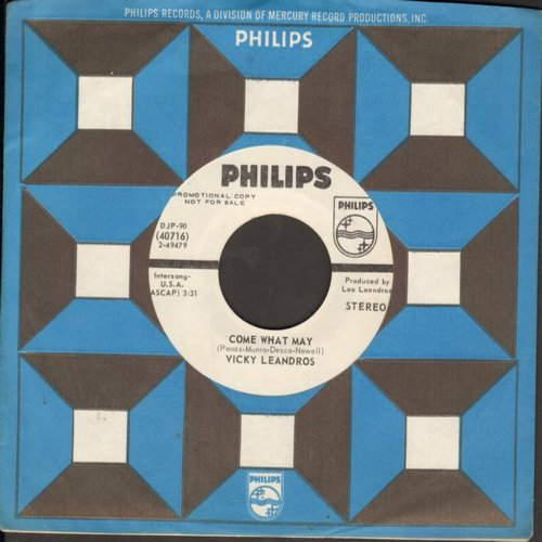 Leandros, Vicky - Come What May (double-A-sided DJ advance pressing with Philips company sleeve) - NM9/ - 45 rpm Records