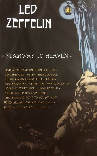 Led Zeppelin - Led Zeppelin Stairway To Heaven Poster - 35 x 22 inches. Due to awkward dimensions shipped separately.  - VG7/ - Poster